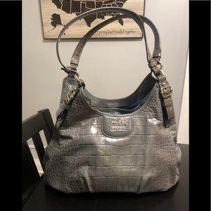 Coach Grey Alligator Embossed Hobo Bag